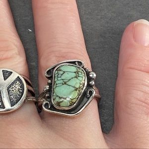 Vintage Jewelry - Vintage light blue green spiderweb turquoise ring